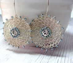 Unique Silver Earrings  Circle Wire Crochet by SigalsDesigns