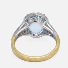 Checker Cut Aquamarine Diamond Gold Engagement Ring   From a unique collection of vintage cluster rings at https://www.1stdibs.com/jewelry/rings/cluster-rings/