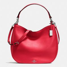 Coach Nomad Hobo ($495) ❤ liked on Polyvore featuring bags, handbags, shoulder bags, red, crossbody purse, hobo crossbody, leather shoulder bag, red leather shoulder bag and leather handbags