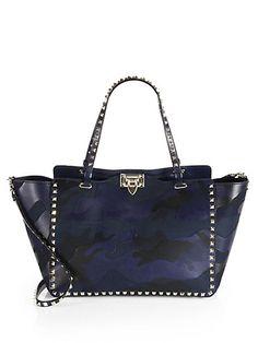 Valentino - Camouflage Rockstud Leather & Canvas Tote - Saks.com