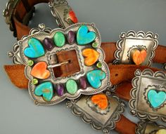 Don Lucas Multi Color Sterling Heart Vintage Spiny Oyster Turquoise Concho Belt | eBay
