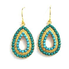 Turquoise and Vermeil Teardrop Earrings | Only available at Peyton William. www.peytonwilliam.com