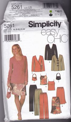 Simplicity 5261 Pattern 16 18 20 22 24 Uncut Easy Chic Separates Cami Top Pants Bias Skirt Jacket Bag Plus