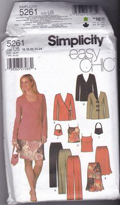 Simplicity 5261 Pattern 16 18 20 22 24 Uncut Easy Chic Separates Cami Top Pants Bias Skirt Jacket Bag Plus