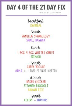 Sample 21 Day Fix One Day Meal Plan for Bracket 1 -- 1,200-1,499. Learn more here: http://fitpossiblecoach.com