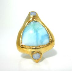 SALE+Larimar+and+fire+opal+ring++Gold+dipped+by+jennleedesign,+$62.30