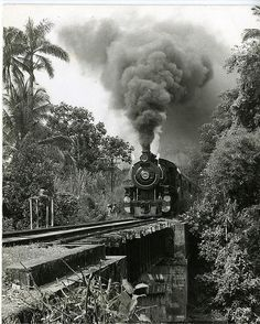 The Jamaican Railway Corporation engine 54, on its last run entering May Pen, Clarendon, 1968