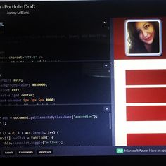 #100DaysofCode working on my Dev portfolio! #Day 1 (yesterday) more today as well as doing a @hacksawacademy landing page project for #Day2. What are you working on today?! #codelife #responsivedesign #portfolio #webdeveloper #webdevelopment #functionalprogramming #html #CSS #javascript #codeandcoffee #teamnosleep #hustle #div #workflow #getitgirl #git #github #womenintech #goals #2k17