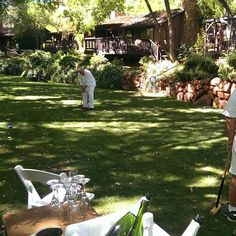 Morning croquet tournament at L'Auberge, with mimosas! (at L'Auberge de Sedona)