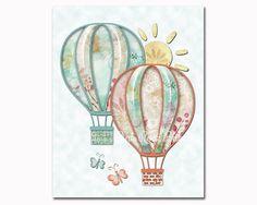 Cream mint hot air balloons nursery art nursery by PinkRockBabies