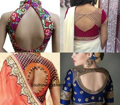 When you are getting a blouse stitched there are various ways in which you can design the back.Here are some fail proof blouse back designs. Brocade Blouse Designs, Saree Blouse Neck Designs, Designer Blouse Patterns, Fancy Blouse Designs, Latest Saree Blouse, Lehenga Blouse, Choli Dress, Stylish Blouse Design, Blouse Models
