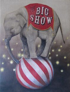 Vintage Circus Elephant painting on burlap by Lisa Golightly. What say you Ashley?Vintage circus clown painting  My Grandma's Attic  the kids vintage circus playroom!!!!
