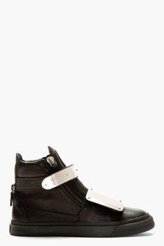 Giuseppe Zanotti Black Calfskin Leather High Top Sneakers for men | SSENSE