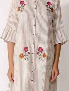 Black-White Handwoven Cotton Kurta with Hand-embroidered Motif New Dress Design Indian, Indian Designer Wear, Kurti Embroidery Design, Embroidery Suits, Machine Embroidery, Frock Fashion, Fashion Outfits, Women's Fashion, Kurta Designs