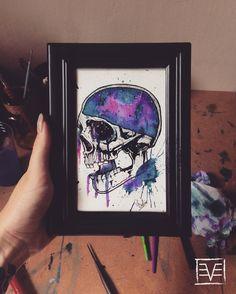 watercolor skull galaxie