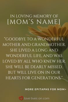 memorial quotes for mommemorial Memorial Quotes For Mom, Memorial Ideas, Memorial Stones, Rip Quotes, Cute Quotes, Loss Of Mother Quotes, Tombstone Quotes, In Loving Memory Quotes, Poem About Death