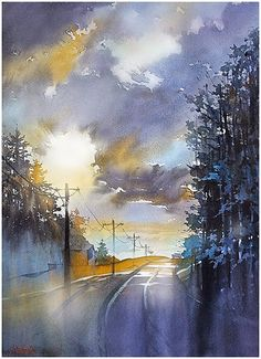 Road home thomas w schaller - watercolor inches 02 may 2015 watercolor sky, watercolor Art Aquarelle, Watercolor Artwork, Watercolor Artists, Watercolor Techniques, Watercolor Landscape, Landscape Art, Landscape Paintings, Watercolor Clouds, Landscape Sketch