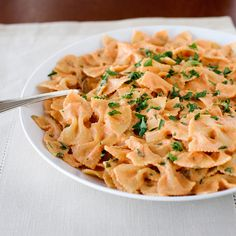 Sun-dried tomatoes give intense flavor to this quick, no-cook sauce. Fusilli would also be a good shape to use here; the cream sauce will cling to its...
