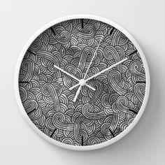 """Grey and black arabesques"" Wall Clock by Savousepate - $30.00 #wallclock #clock #black #white #blackandwite #grey #arabesque #pattern #zigzag"