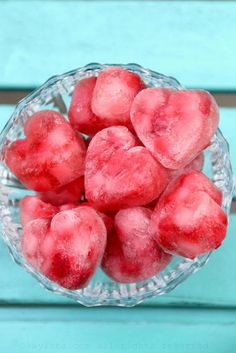 Heart shaped sparkling strawberry ice cubes