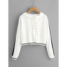 Eyelet Lace Up Stripe Trim Hoodie ($17) ❤ liked on Polyvore featuring tops, hoodies, white, long sleeve tops, sports hoodies, striped hoodie, white long sleeve top and white hooded sweatshirt