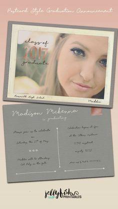 Postcard Style Photo Graduation by JellyfishPrintables on Etsy Graduation Announcements, Graduation Invitations, Invites, Jw Printables, Jellyfish, Fashion Photo, Printable Wall Art, Handmade Gifts, Frame