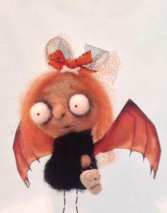 Bethany the Bat Girl ooak needle felted art doll on Etsy, $69.00