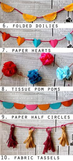 Love all these ideas for great bunting for photos, wedding decoration, home decoration, you name it!
