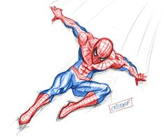 Sketch of Spiderman from Marvel by myself Cartoon Faces, Girl Cartoon, Cartoon Drawings, Easy Drawings, Spiderman Drawing, Goku Drawing, Comic Tutorial, Marvel Drawings, Princess Drawings