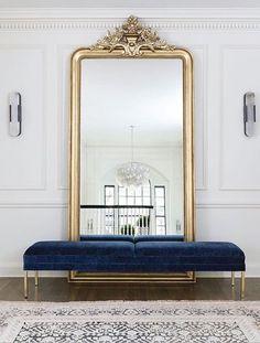Large floor mirror with bench in front, foyer, entrance area, gold floor mirror . - Home Decor Interior Design Inspiration, Decor Interior Design, Home Decor Inspiration, Decor Ideas, Decorating Ideas, Design Ideas, Art Deco Interior Bedroom, Gold Bedroom Decor, French Interior Design