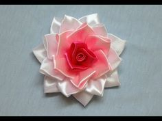 DIY kanzashi flower,kanzashi flower tutorial, how to make ribbon rose,kanzashi rose - YouTube