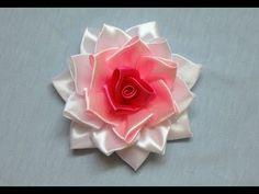 DIY kanzashi flower, how to make ribbon rose,kanzashi rose,kanzashi flores de cinta - YouTube
