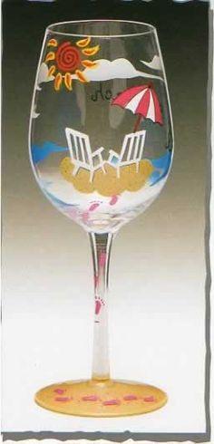 beach themed wine glasses - Google Search