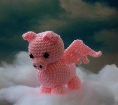 Pink Floyd Flying Pig  pig amigurumi  crochet pig by meddywv