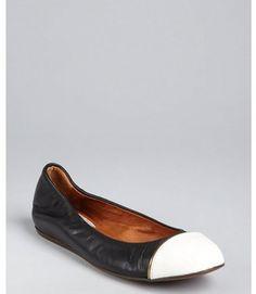 Lanvin black and white leather cap toe ballet flats Lanvin