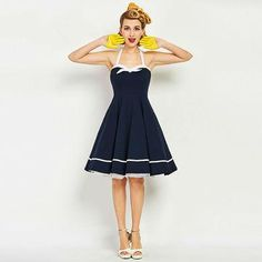 Sisjuly women vintage dress nautical style bowknot sexy retro dresses luxury dark blue female summer strap vintage dresses new Sexy Vintage Dresses, Retro Dress, Vintage Ladies, 1950s Dresses, Vintage Style, Pink Dress, New Dress, Nautical Fashion, Nautical Style