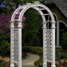 New England Arbors Nantucket Legacy 8.5-Foot Vinyl Arch Arbor - VA84251 | from hayneedle.com