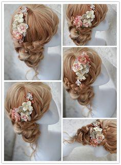 Etsy の Ivory Pink Bridal Flower Hair Clip Wedding Hair by LAmei