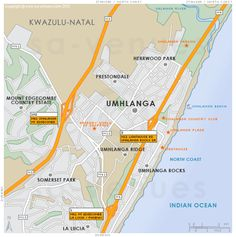 Umhlanga street level map showing main roads and the location of attractions in and around Umhlanga, KwaZulu Natal . Kwazulu Natal, North Coast, Country Estate, Lighthouse, River, Map, Beach, Holiday, Bell Rock Lighthouse