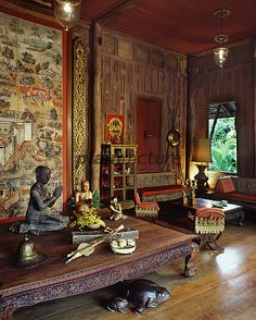 Asian Interior of mountain house, wonderful atmosphere !