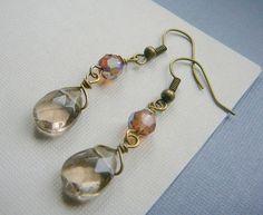 Wire wrapped drop earrings, smokey topaz earrings, long dangle earrings, gifts for her under 20 on Etsy, $18.00