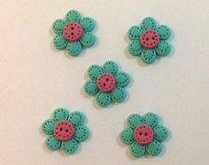 Set de 5 Botones Flores Lindos Turquesa