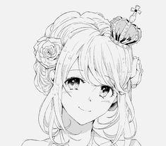 anime girl black and white smile