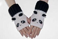 Crochet Gloves-Panda Fingerless Gloves-Bear Gloves-Animal Gloves-Fingerless Gloves-Women Gloves- Black And White- Kawaii-Mittens- Knitting PatternsKnitting For KidsCrochet ProjectsCrochet Ideas Crochet Panda, Knit Or Crochet, Crochet Stitches, Crochet Baby, Glove Puppets, Crochet Gloves Pattern, Crochet Patterns, Fingerless Gloves Knitted, Unique Crochet