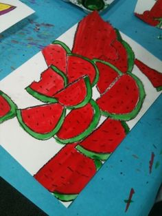 from It is My Art Day! blog: overlapping watermelon slices. Great for end of year.