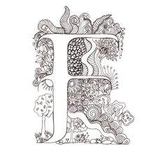 Monogram - F - Initial, Colour-Me-In Illuminated Letters, original art drawings…