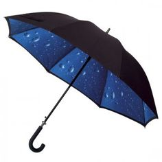 This is an elegant, stunning, and beautiful umbrella. This Jackman raindrops umbrella has a double canopy - which means a top and a bottom cover which covers the ribs of the umbrella. The outer canopy is black and the inner canopy is blue raindrops. This fabulous sturdy umbrella also has an automatic opening mechanism and a really comfy handle too.