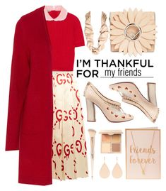 """""""Thankful for my friends"""" by puljarevic ❤ liked on Polyvore featuring Gucci, Miu Miu, Samoon, Tory Burch, Fendi, Chloé, Forever 21, Irene Neuwirth, Bobbi Brown Cosmetics and friends"""