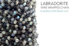 Gorgeous labradorite wire wrapped chain available now at JBCBeads.com! We have huge selection of gemstone beaded chain, such as pink opal, garnet, black spinel, moonstone, peach moonstone, and many more.