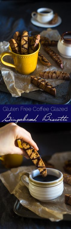 Gluten Free Gingerbread Biscotti with Coffee Glaze - These Gingerbread gluten free biscotti are made with oat flour and have a sweet coffee glaze! They're a healthy Christmas cookie that are only 106 calories! | Foodfaithfitness.com | @FoodFaithFit